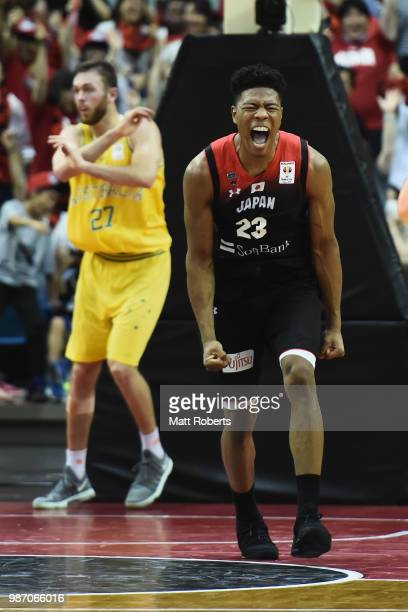 Rui Hachimura of Japan celebrates during the FIBA World Cup Asian Qualifier Group B match between Japan and Australia at Chiba Port Arena on June 29...