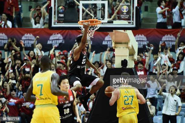 Rui Hachimura of Japan dunks during the FIBA World Cup Asian Qualifier Group B match between Japan and Australia at Chiba Port Arena on June 29, 2018...