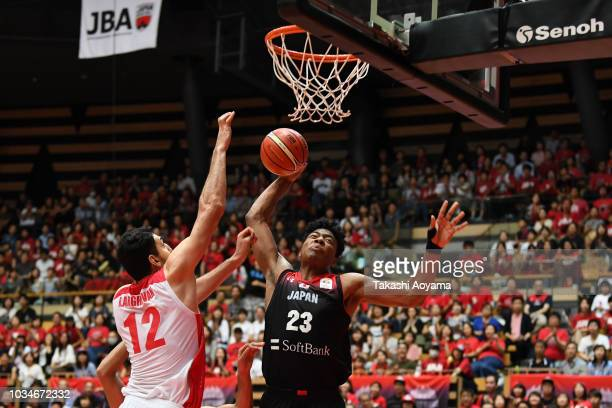 Rui Hachimura of Japan goes up for a dunk during the FIBA Men's World Cup Asian Qualifier 2nd Round Group F match between Japan and Iran at Ota City...