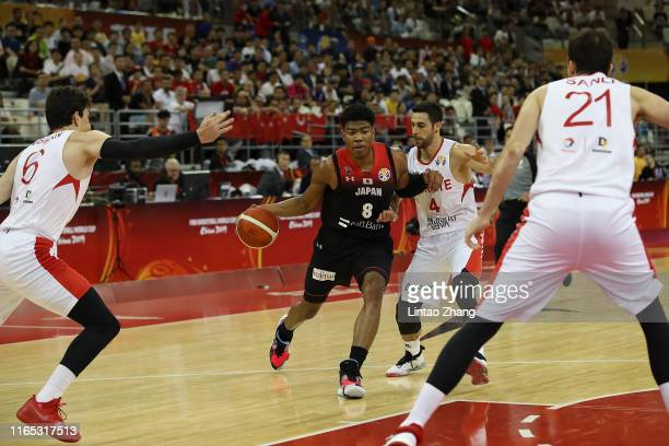 Rui Hachimura of Japan National Team shoots against the Dogus Balbay of Turkey during the 1st round Group E march between Turkey and Japan of 2019...