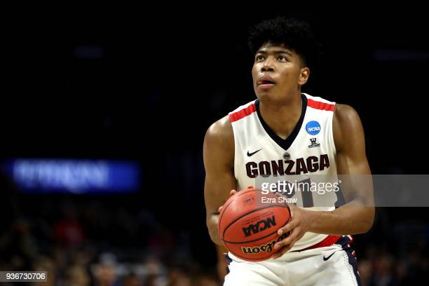 Rui Hachimura of the Gonzaga Bulldogs attempts a free throw against the Florida State Seminoles during the first half in the 2018 NCAA Men's...