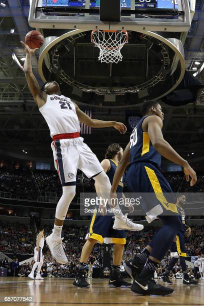 Rui Hachimura of the Gonzaga Bulldogs attempts a shot against the West Virginia Mountaineers during the 2017 NCAA Men's Basketball Tournament West...