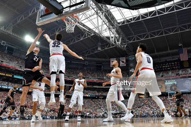 Rui Hachimura of the Gonzaga Bulldogs attempts a shot defended by Zach Collins of the Gonzaga Bulldogs during the 2017 NCAA Men's Final Four...