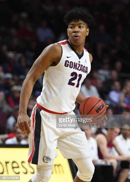 Rui Hachimura of the Gonzaga Bulldogs brings the ball up the court against the Loyola Marymount Lions during a quarterfinal game of the West Coast...