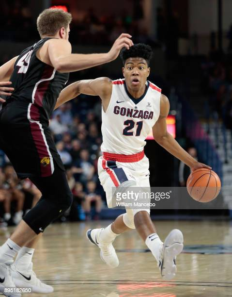 Rui Hachimura of the Gonzaga Bulldogs controls the ball against Aaron Brennan of the IUPUI Jaguars in the second half at McCarthey Athletic Center on...