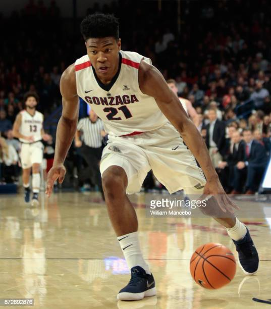 Rui Hachimura of the Gonzaga Bulldogs controls the ball against the Texas Southern Tigers in the first half at McCarthey Athletic Center on November...