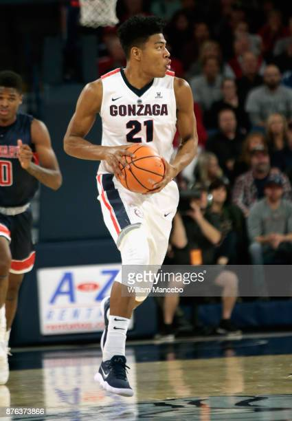 Rui Hachimura of the Gonzaga Bulldogs controls the ball against the Howard Bison in the game at McCarthey Athletic Center on November 14 2017 in...