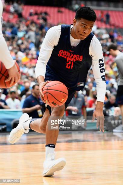 Rui Hachimura of the Gonzaga Bulldogs dribbles around during practice ahead of the 2017 NCAA Men's Final Four at University of Phoenix Stadium on...
