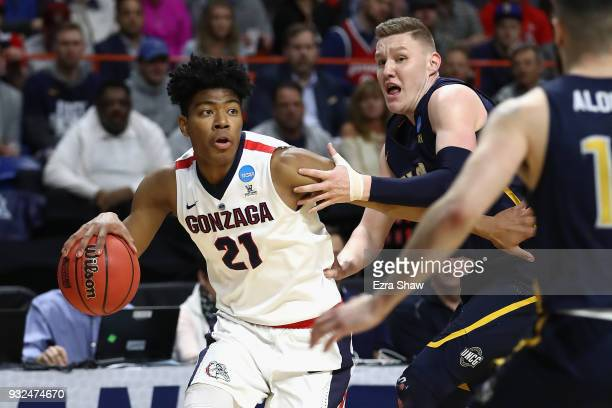 Rui Hachimura of the Gonzaga Bulldogs dribbles in the first half against the UNCGreensboro Spartans during the first round of the 2018 NCAA Men's...