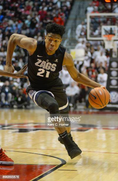 Rui Hachimura of the Gonzaga Bulldogs dribbles the ball in the first half against the San Diego State Aztecs at Viejas Arena on December 21 2017 in...