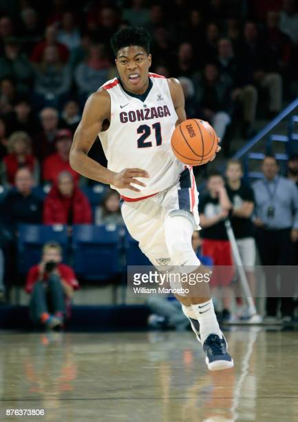 Rui Hachimura of the Gonzaga Bulldogs drives against the Howard Bison in the game at McCarthey Athletic Center on November 14 2017 in Spokane...