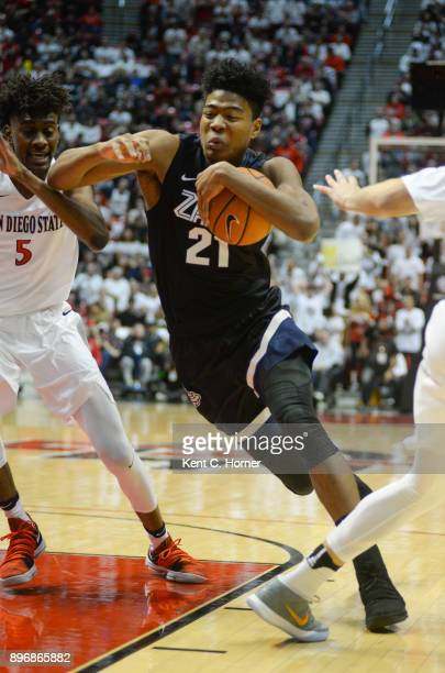 Rui Hachimura of the Gonzaga Bulldogs drives to the basket with the ball in the first half against the San Diego State Aztecs at Viejas Arena on...