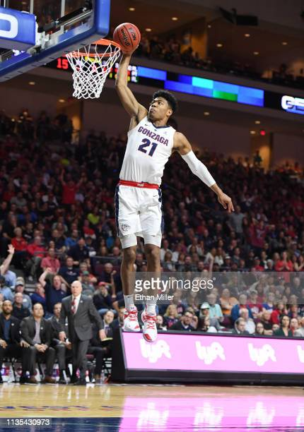 Rui Hachimura of the Gonzaga Bulldogs dunks against the Saint Mary's Gaels during the championship game of the West Coast Conference basketball...
