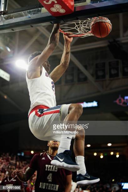 Rui Hachimura of the Gonzaga Bulldogs dunks against the Texas Southern Tigers in the first half at McCarthey Athletic Center on November 10 2017 in...
