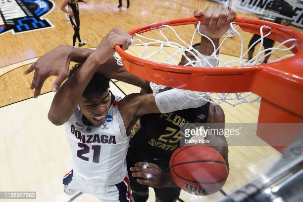 Rui Hachimura of the Gonzaga Bulldogs dunks the ball against Mfiondu Kabengele of the Florida State Seminoles during the 2019 NCAA Men's Basketball...