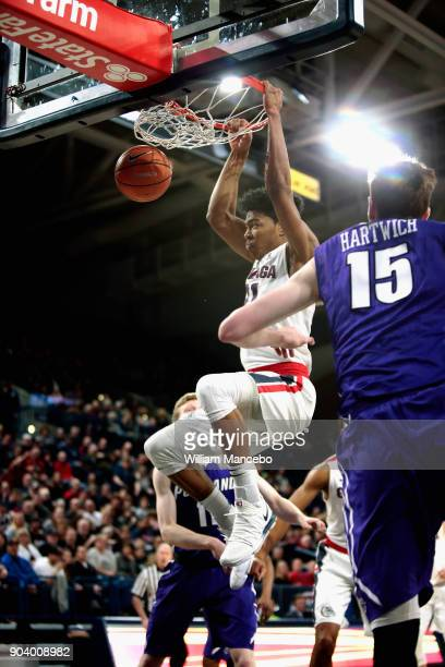 Rui Hachimura of the Gonzaga Bulldogs dunks the ball against the Portland Pilots in the first half at McCarthey Athletic Center on January 11 2018 in...