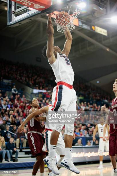 Rui Hachimura of the Gonzaga Bulldogs finishes the ally oop dunk against the Santa Clara Broncos in the first half at McCarthey Athletic Center on...