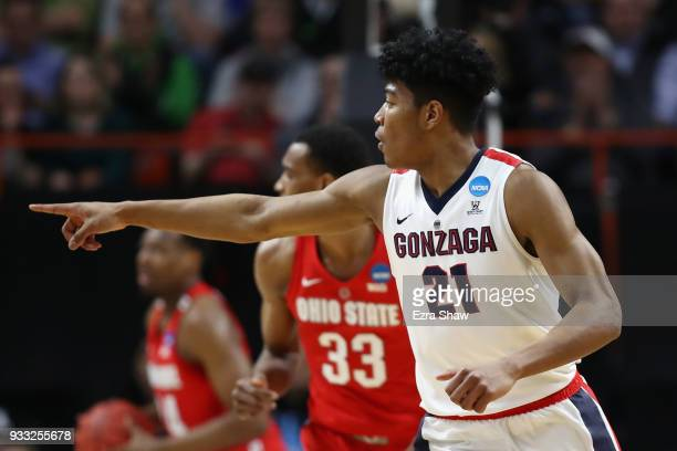 Rui Hachimura of the Gonzaga Bulldogs gestures during the first half against the Ohio State Buckeyes in the second round of the 2018 NCAA Men's...