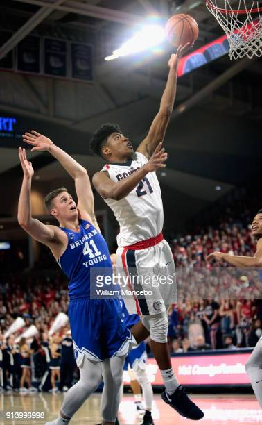 Rui Hachimura of the Gonzaga Bulldogs goes to the basket against Luke Worthington of the BYU Cougars in the second half at McCarthey Athletic Center...