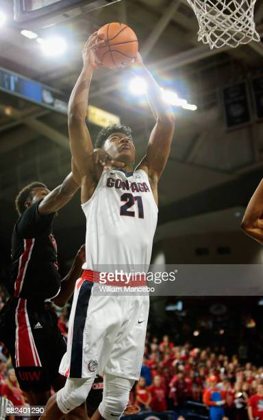Rui Hachimura of the Gonzaga Bulldogs goes to the basket against the Incarnate Word Cardinals in the first half at McCarthey Athletic Center on...
