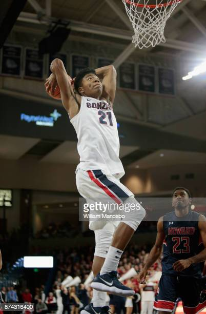 Rui Hachimura of the Gonzaga Bulldogs goes up for the dunk against the Howard Bison in the second half at McCarthey Athletic Center on November 14...