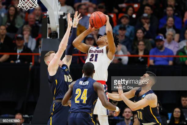 Rui Hachimura of the Gonzaga Bulldogs handles the ball in the first half against the UNCGreensboro Spartans during the first round of the 2018 NCAA...