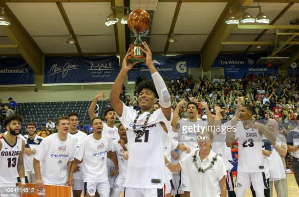 Rui Hachimura of the Gonzaga Bulldogs holds up the tournament MVP trophy after the 2018 Maui Invitational at the Lahaina Civic Center on November 21...