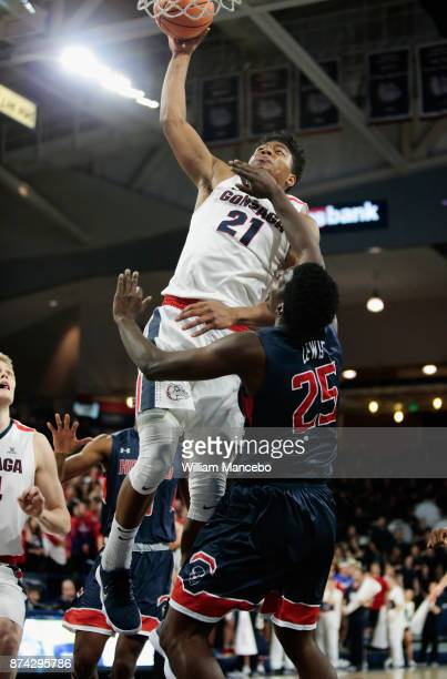 Rui Hachimura of the Gonzaga Bulldogs is fouled by Cameron Lewis of the Howard Bison in the first half at McCarthey Athletic Center on November 14...