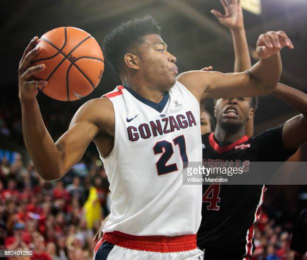 Rui Hachimura of the Gonzaga Bulldogs looks to pass against the Incarnate Word Cardinals in the first half at McCarthey Athletic Center on November...