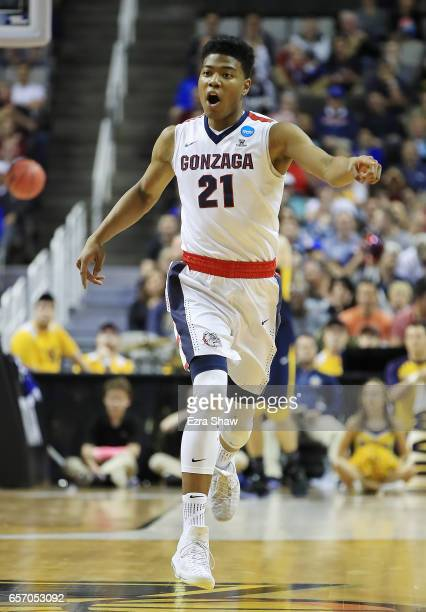 Rui Hachimura of the Gonzaga Bulldogs reacts against the West Virginia Mountaineers during the 2017 NCAA Men's Basketball Tournament West Regional at...