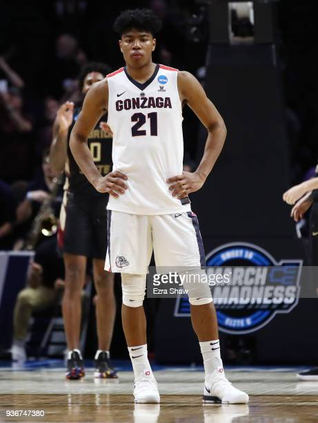 Rui Hachimura of the Gonzaga Bulldogs reacts as the Florida State Seminoles take a large lead late in the game in the 2018 NCAA Men's Basketball...