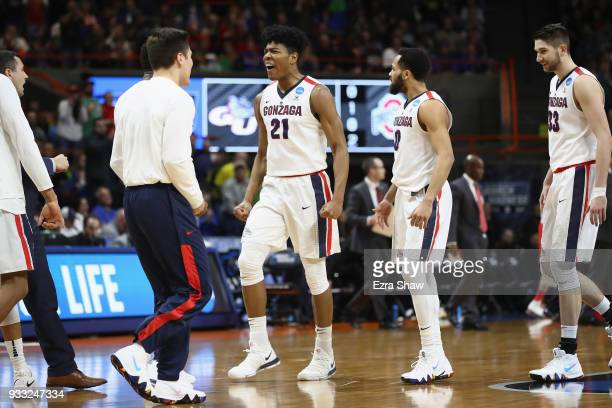 Rui Hachimura of the Gonzaga Bulldogs reacts during the first half against the Ohio State Buckeyes in the second round of the 2018 NCAA Men's...