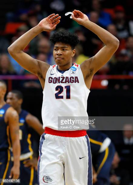 Rui Hachimura of the Gonzaga Bulldogs reacts in the first half against the UNCGreensboro Spartans during the first round of the 2018 NCAA Men's...