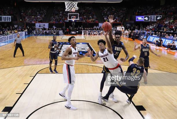 Rui Hachimura of the Gonzaga Bulldogs shoots the ball against the UNCGreensboro Spartans during the first round of the 2018 NCAA Men's Basketball...