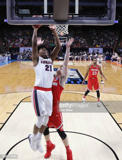 Rui Hachimura of the Gonzaga Bulldogs shoots the ball against the Ohio State Buckeyes in the second round of the 2018 NCAA Men's Basketball...