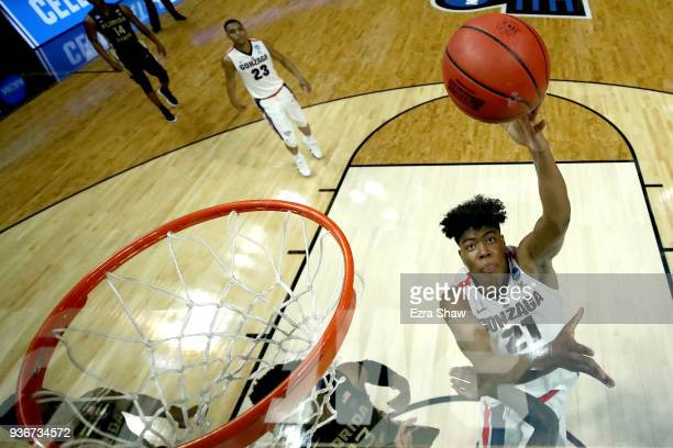 Rui Hachimura of the Gonzaga Bulldogs shoots the ball in the lane against the Florida State Seminoles in the 2018 NCAA Men's Basketball Tournament...