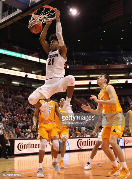 Rui Hachimura of the Gonzaga Bulldogs slam dunks the ball against the Tennessee Volunteers during the first half of the game at Talking Stick Resort...