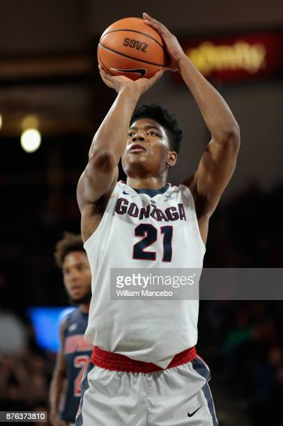 Rui Hachimura of the Gonzaga Bulldogs takes a free throw against the Howard Bison in the game at McCarthey Athletic Center on November 14 2017 in...