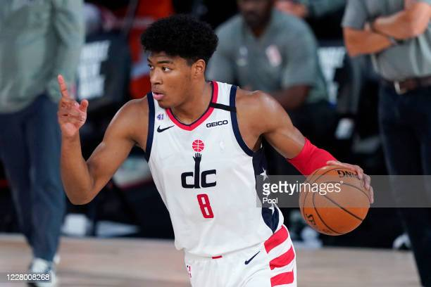 Rui Hachimura of the Washington Wizards calls for a play during the second half against the Milwaukee Bucks at Visa Athletic Center at ESPN Wide...