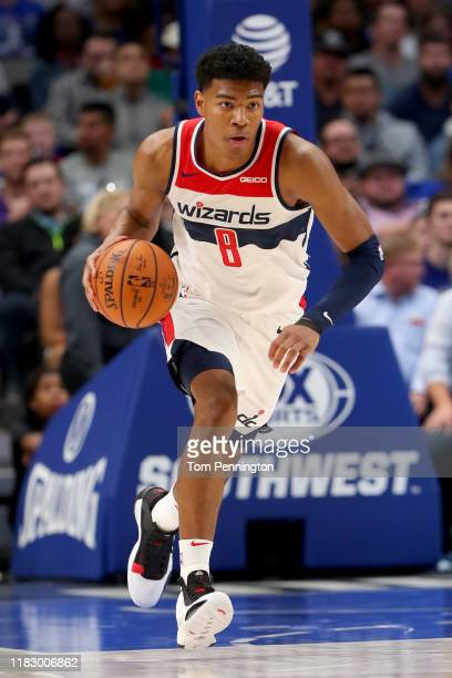 Rui Hachimura of the Washington Wizards dribbles the ball against the Dallas Mavericks in the first half at American Airlines Center on October 23...