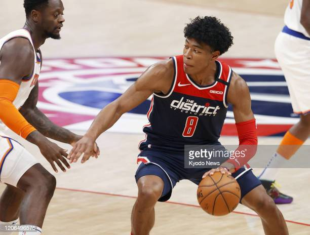 Rui Hachimura of the Washington Wizards dribbles the ball during the second quarter of a match against the New York Knicks on March 10 in Washington