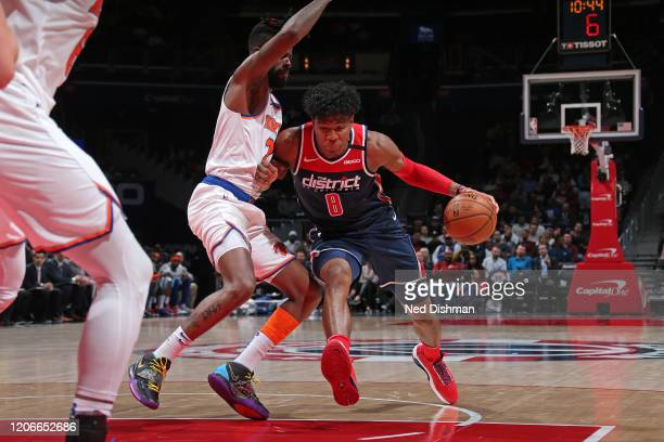 Rui Hachimura of the Washington Wizards drives to the basket against the New York Knicks on March 10 2020 at Capital One Arena in Washington DC NOTE...