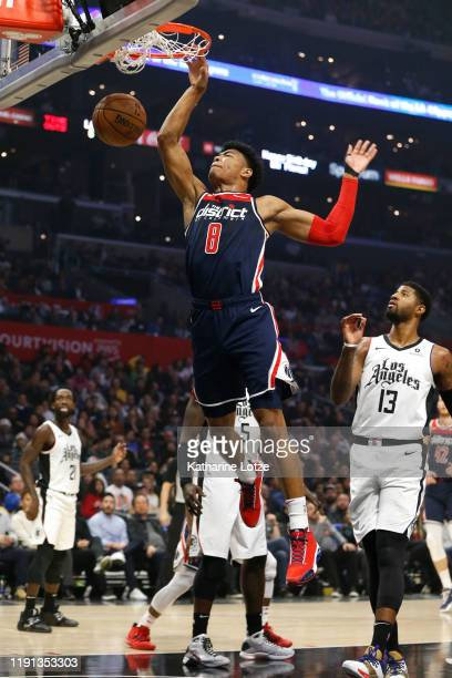 Rui Hachimura of the Washington Wizards dunks the ball during the first half of a game against the Los Angeles Clippers at Staples Center on December...