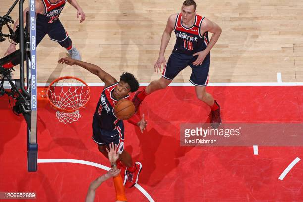 Rui Hachimura of the Washington Wizards grabs the rebound against the New York Knicks on March 10 2020 at Capital One Arena in Washington DC NOTE TO...