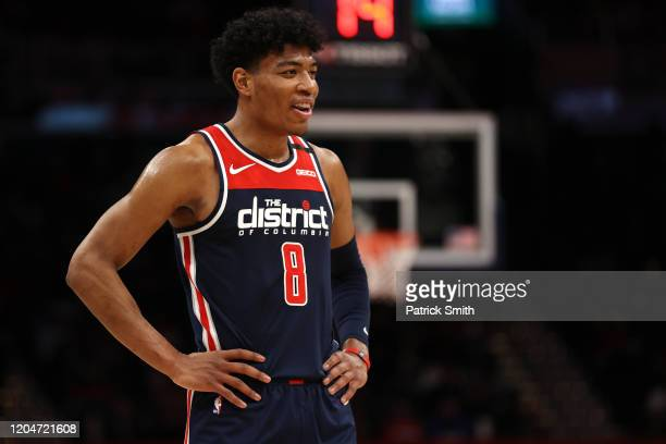 Rui Hachimura of the Washington Wizards looks on against the Dallas Mavericks during the first half at Capital One Arena on February 07 2020 in...