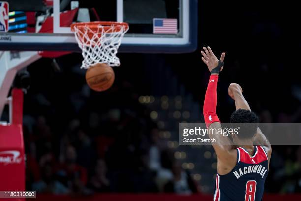 Rui Hachimura of the Washington Wizards makes a free throw during the first half against the Houston Rockets at Capital One Arena on October 30 2019...