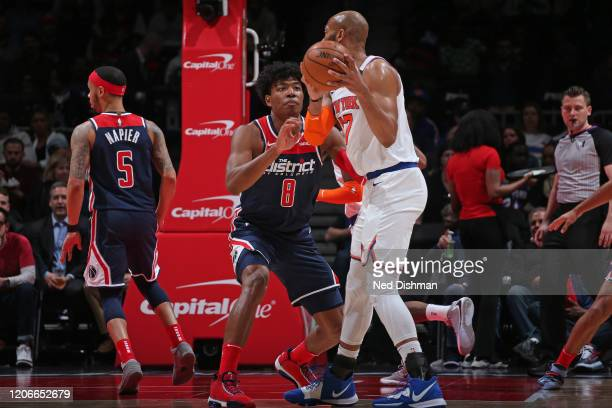 Rui Hachimura of the Washington Wizards plays defense against the New York Knicks on March 10 2020 at Capital One Arena in Washington DC NOTE TO USER...