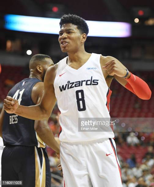 Rui Hachimura of the Washington Wizards reacts after a teammate got a basket and was fouled during a game against the New Orleans Pelicans during the...