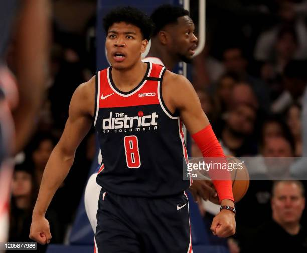Rui Hachimura of the Washington Wizards reacts after he drew the foul in the second half against the New York Knicks at Madison Square Garden on...