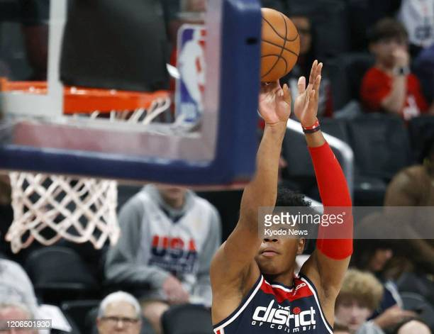 Rui Hachimura of the Washington Wizards releases a jump shot during the third quarter of a game against the New York Knicks on March 10 in Washington